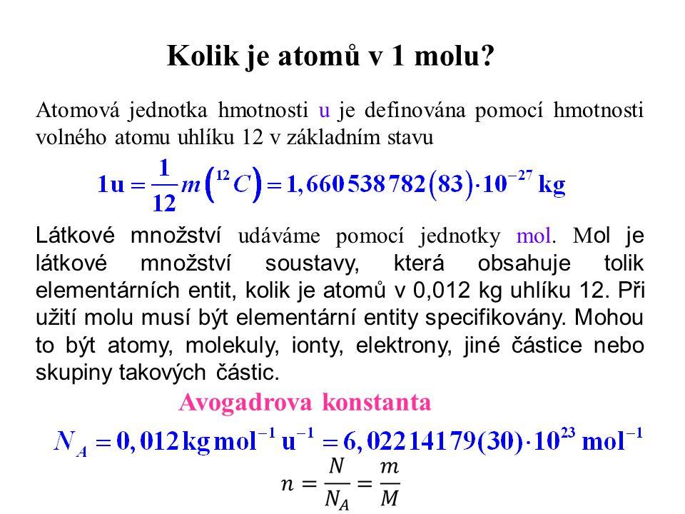 Kolik je atomů v 1 molu? Látkové množství udáváme pomocí jednotky mol. M ol je látkové množství soustavy, která obsahuje tolik elementárních entit, ko