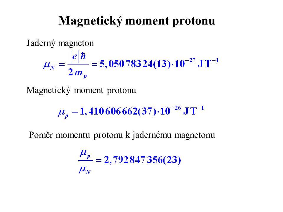 Magnetický moment protonu Jaderný magneton Magnetický moment protonu Poměr momentu protonu k jadernému magnetonu