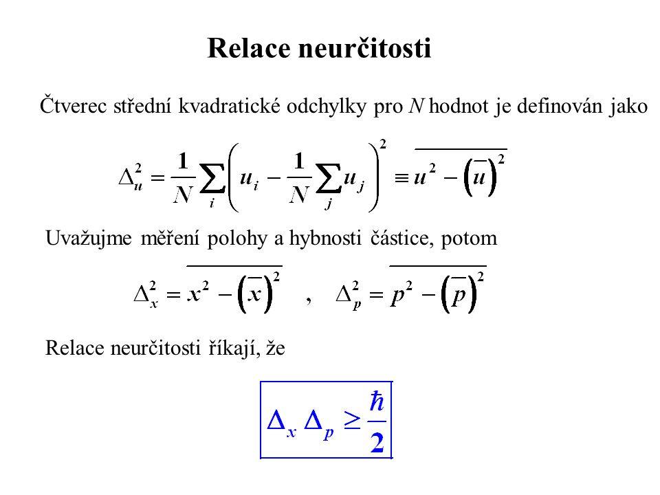 Relace neurčitosti Čtverec střední kvadratické odchylky pro N hodnot je definován jako Uvažujme měření polohy a hybnosti částice, potom Relace neurčit