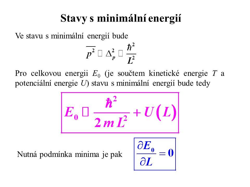 Stavy s minimální energií Ve stavu s minimální energií bude Pro celkovou energii E 0 (je součtem kinetické energie T a potenciální energie U) stavu s