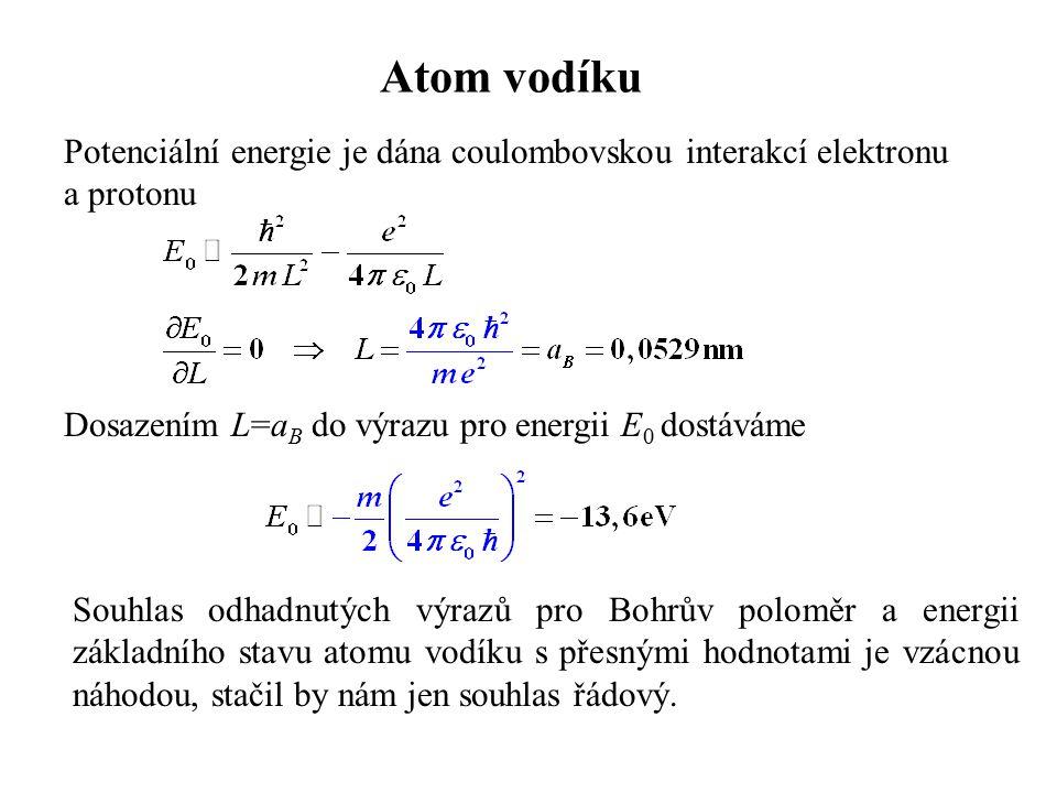 Atom vodíku Potenciální energie je dána coulombovskou interakcí elektronu a protonu Dosazením L=a B do výrazu pro energii E 0 dostáváme Souhlas odhadn