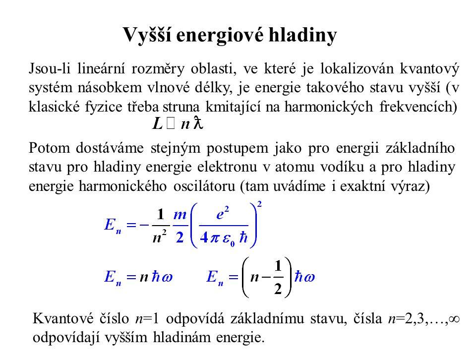 Vyšší energiové hladiny Jsou-li lineární rozměry oblasti, ve které je lokalizován kvantový systém násobkem vlnové délky, je energie takového stavu vyš