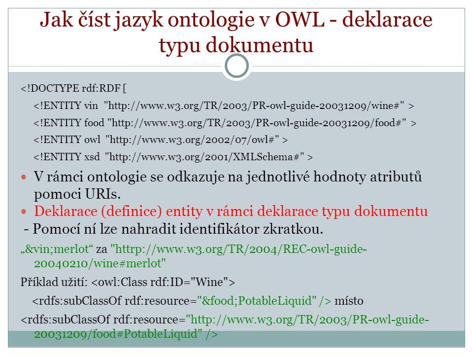Jak číst jazyk ontologie v OWL - deklarace typu dokumentu <!DOCTYPE rdf:RDF [ V rámci ontologie se odkazuje na jednotlivé hodnoty atributů pomoci URIs.