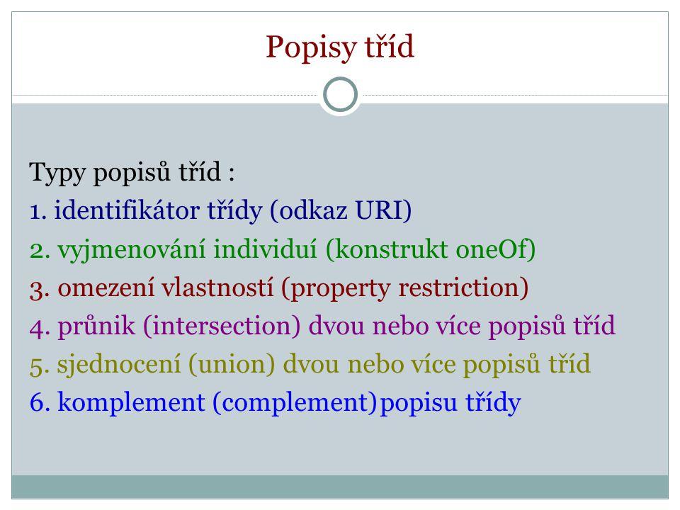 Popisy tříd Typy popisů tříd : 1. identifikátor třídy (odkaz URI) 2.