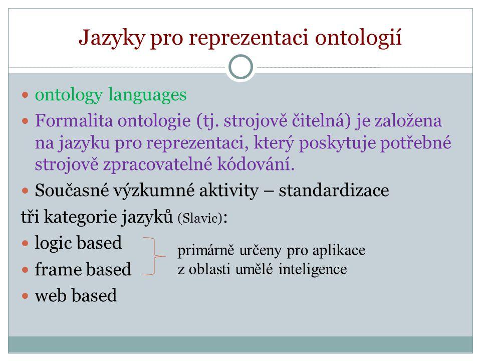 """Jazyky pro reprezentaci ontologií Jazyky spjaté s oblastí umělé inteligence – příklady (Svátek) Ontolingua http://www.ksl.stanford.edu/software/ontolingua/ - Základními konstrukty jazyka jsou definice tříd, relací a funkcí, """"mezijazyk pro rámcové znalostní systémy."""