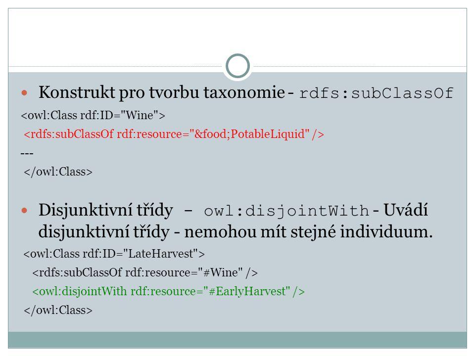 Konstrukt pro tvorbu taxonomie - rdfs:subClassOf --- Disjunktivní třídy - owl:disjointWith - Uvádí disjunktivní třídy - nemohou mít stejné individuum.