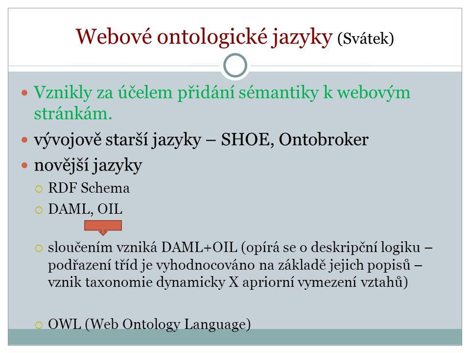 Webové ontologické jazyky (Svátek) Vznikly za účelem přidání sémantiky k webovým stránkám.