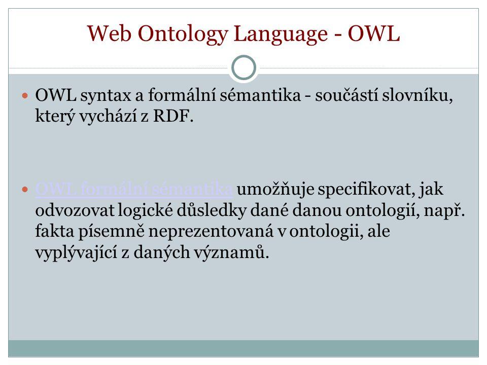 Web Ontology Language - OWL OWL syntax a formální sémantika - součástí slovníku, který vychází z RDF.