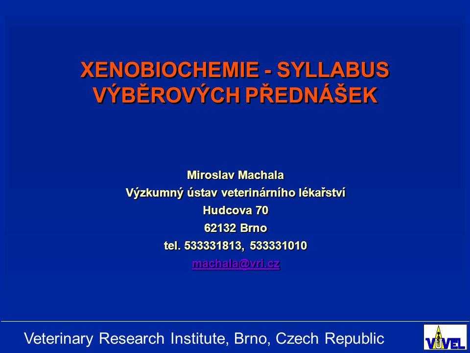 Veterinary Research Institute, Brno, Czech Republic Úvod, jednotlivé třídy cizorodých látek PŘÍRODNÍ LÁTKY   biogenní aminy, heterocyklické aminy, alkaloidy, peptidy, polyfenoly, přírodní barviva, terpenoidy;   bakteriální toxiny, toxiny sinic, mykotoxiny ANTROPOGENNÍ LÁTKY   průmyslové kontaminanty (PCDD/Fs, PCB, PAHs, ftaláty, detergenty), pesticidy (herbicidy, insekticidy), anorganické polutanty;   aditiva v potravinách, xenobiotika vzniklá úpravou a skladováním potravin (heteryklické aminy, biogenní aminy);   farmaka a jejich rezidua