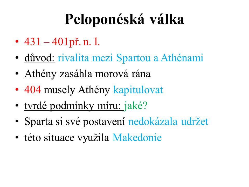 Peloponéská válka 431 – 401př.n. l.