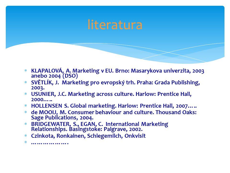  KLAPALOVÁ, A. Marketing v EU. Brno: Masarykova univerzita, 2003 anebo 2004 (DSO)  SVĚTLÍK, J.