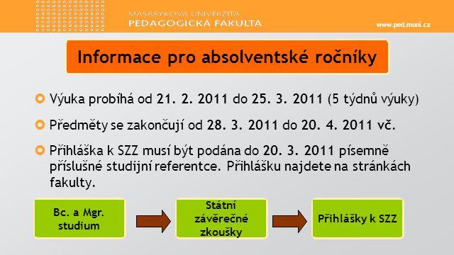 www.ped.muni.cz  Výuka probíhá od 21. 2. 2011 do 25.