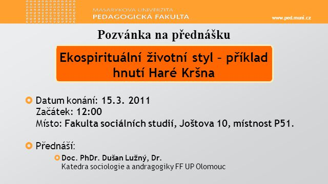 www.ped.muni.cz  Datum konání: 15.3.