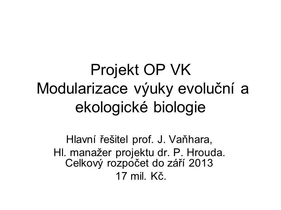 Projekt OP VK Modularizace výuky evoluční a ekologické biologie Hlavní řešitel prof.