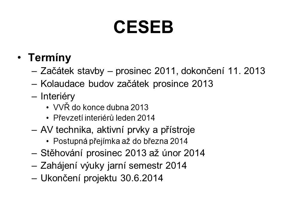 CESEB Termíny –Začátek stavby – prosinec 2011, dokončení 11.