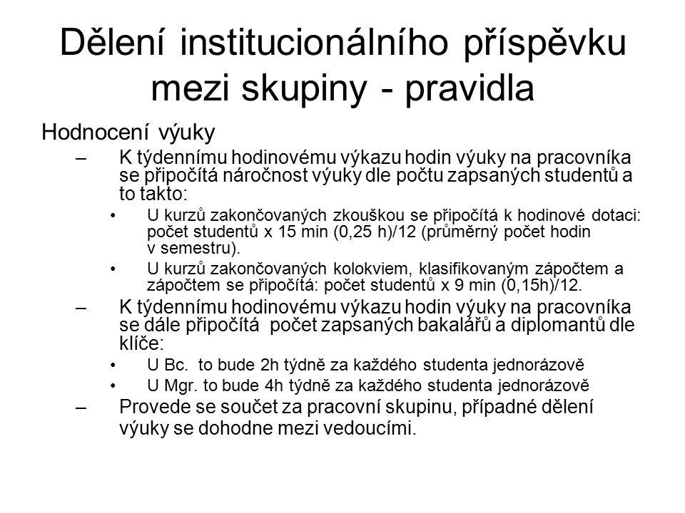 Dělení institucionálního příspěvku mezi skupiny - pravidla Hodnocení výuky –K týdennímu hodinovému výkazu hodin výuky na pracovníka se připočítá náročnost výuky dle počtu zapsaných studentů a to takto: U kurzů zakončovaných zkouškou se připočítá k hodinové dotaci: počet studentů x 15 min (0,25 h)/12 (průměrný počet hodin v semestru).