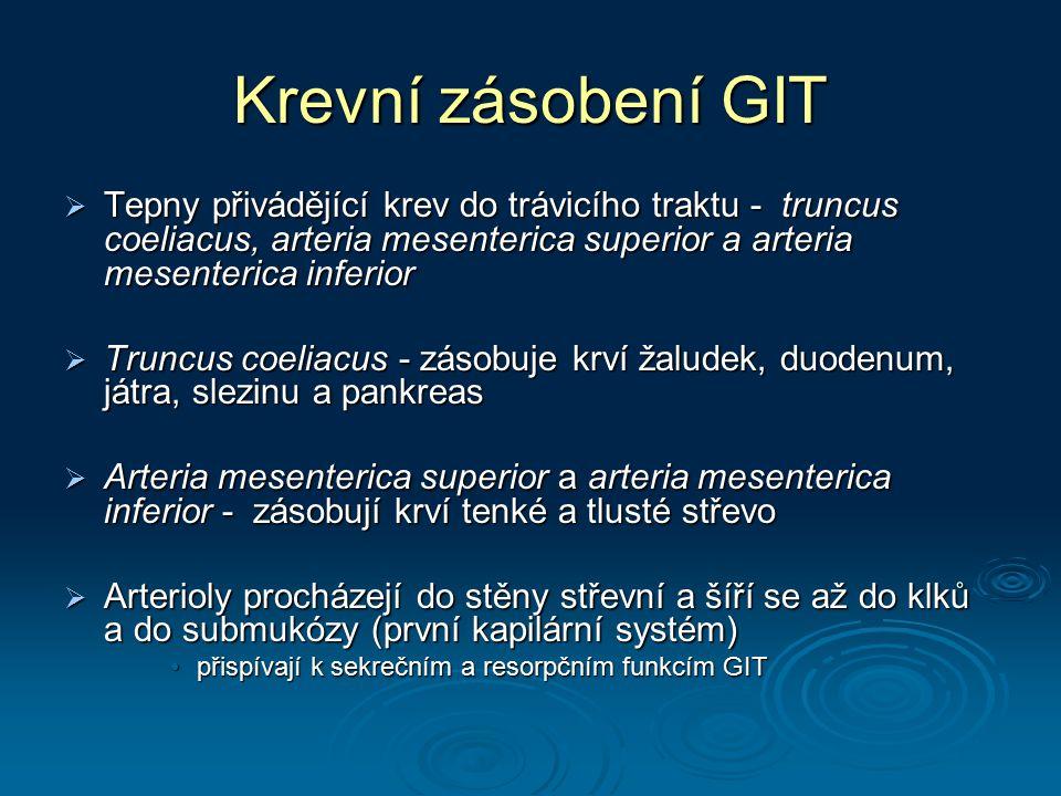 Krevní zásobení GIT  Tepny přivádějící krev do trávicího traktu - truncus coeliacus, arteria mesenterica superior a arteria mesenterica inferior  Tr
