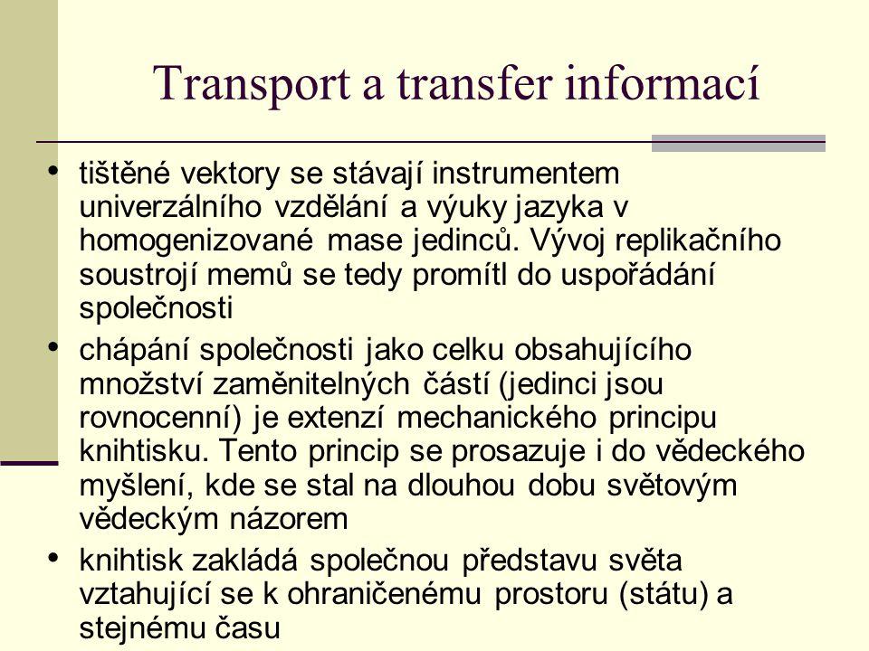Transport a transfer informací tištěné vektory se stávají instrumentem univerzálního vzdělání a výuky jazyka v homogenizované mase jedinců.