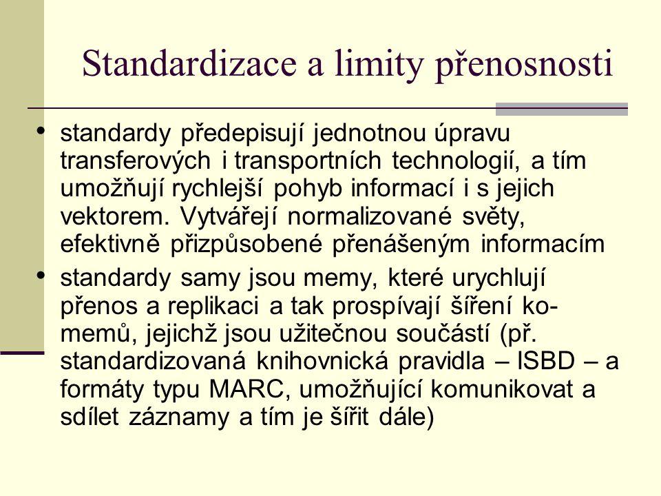 Standardizace a limity přenosnosti standardy předepisují jednotnou úpravu transferových i transportních technologií, a tím umožňují rychlejší pohyb informací i s jejich vektorem.