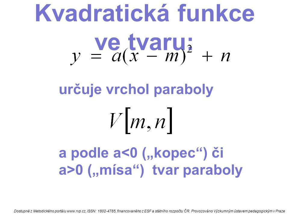 Kvadratická funkce Narýsu j: odpověz na otázky: 1)má KF min nebo max 3) hodnota min nebo max 4) f(0)= ; f(1)= ;f(-1)= 5) pro která x je KF nulová 6) pro která x je KF kladná a rostoucí 7) pro která x je KF záporná a klesající Dostupné z Metodického portálu www.rvp.cz, ISSN: 1802-4785, financovaného z ESF a státního rozpočtu ČR.