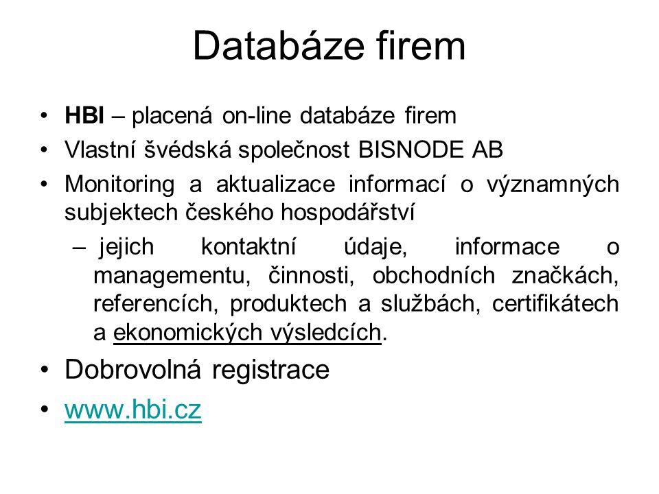 Databáze firem HBI – placená on-line databáze firem Vlastní švédská společnost BISNODE AB Monitoring a aktualizace informací o významných subjektech českého hospodářství – jejich kontaktní údaje, informace o managementu, činnosti, obchodních značkách, referencích, produktech a službách, certifikátech a ekonomických výsledcích.
