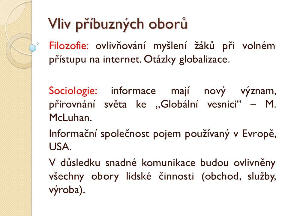 Vliv příbuzných oborů Filozofie: ovlivňování myšlení žáků při volném přístupu na internet. Otázky globalizace. Sociologie: informace mají nový význam,
