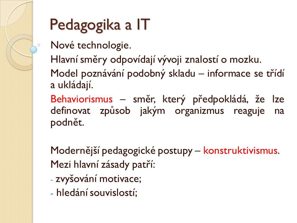 Pedagogika a IT Nové technologie. Hlavní směry odpovídají vývoji znalostí o mozku. Model poznávání podobný skladu – informace se třídí a ukládají. Beh