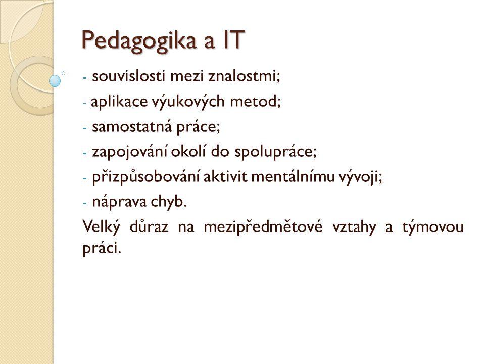Pedagogika a IT - souvislosti mezi znalostmi; - aplikace výukových metod; - samostatná práce; - zapojování okolí do spolupráce; - přizpůsobování aktiv