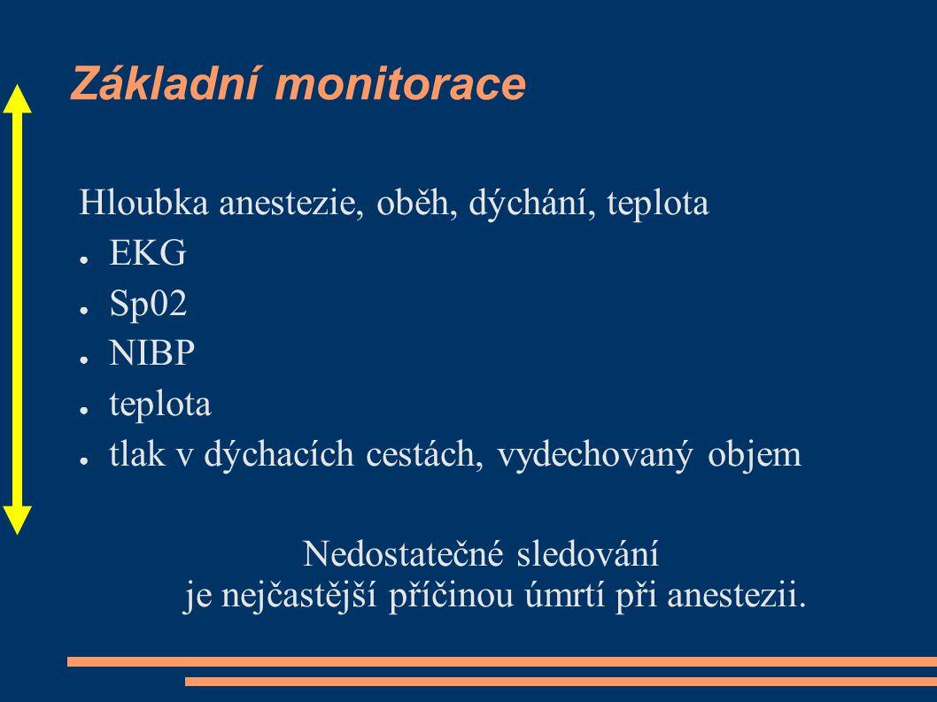 Základní monitorace Hloubka anestezie, oběh, dýchání, teplota ● EKG ● Sp02 ● NIBP ● teplota ● tlak v dýchacích cestách, vydechovaný objem Nedostatečné