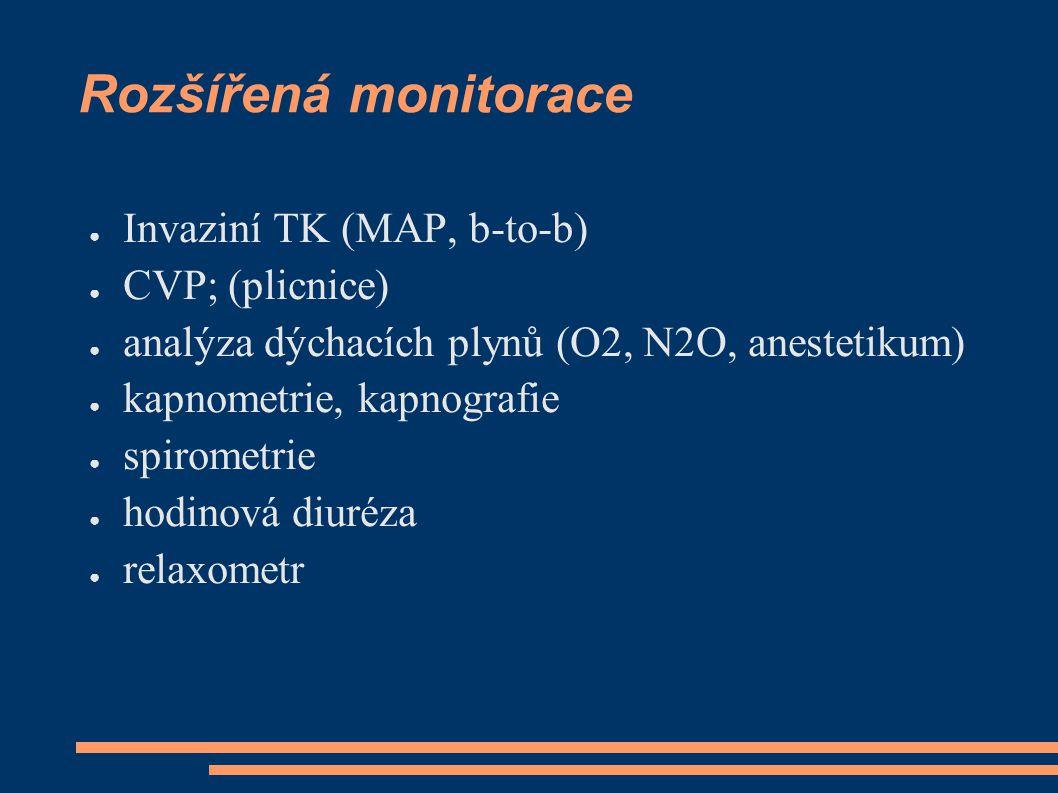 Rozšířená monitorace ● Invaziní TK (MAP, b-to-b) ● CVP; (plicnice) ● analýza dýchacích plynů (O2, N2O, anestetikum) ● kapnometrie, kapnografie ● spiro