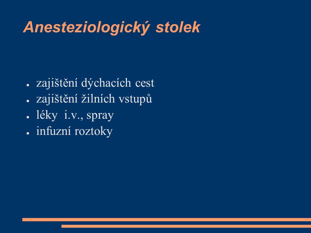 Anesteziologický stolek ● zajištění dýchacích cest ● zajištění žilních vstupů ● léky i.v., spray ● infuzní roztoky