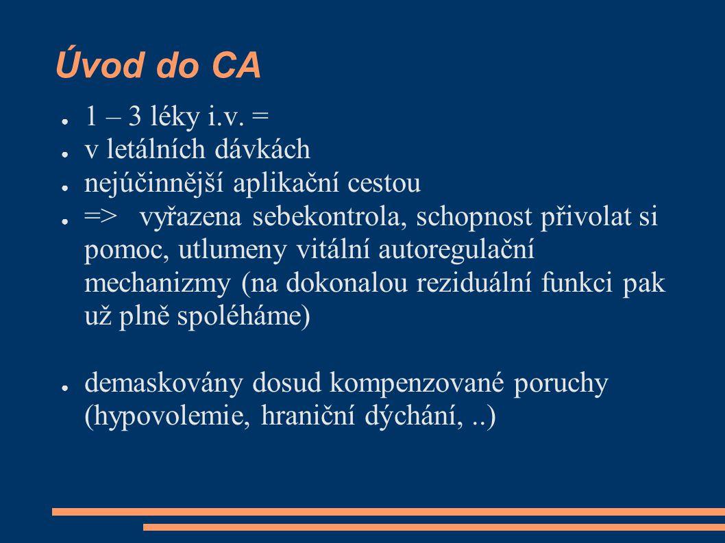 Úvod do CA ● 1 – 3 léky i.v. = ● v letálních dávkách ● nejúčinnější aplikační cestou ● => vyřazena sebekontrola, schopnost přivolat si pomoc, utlumeny
