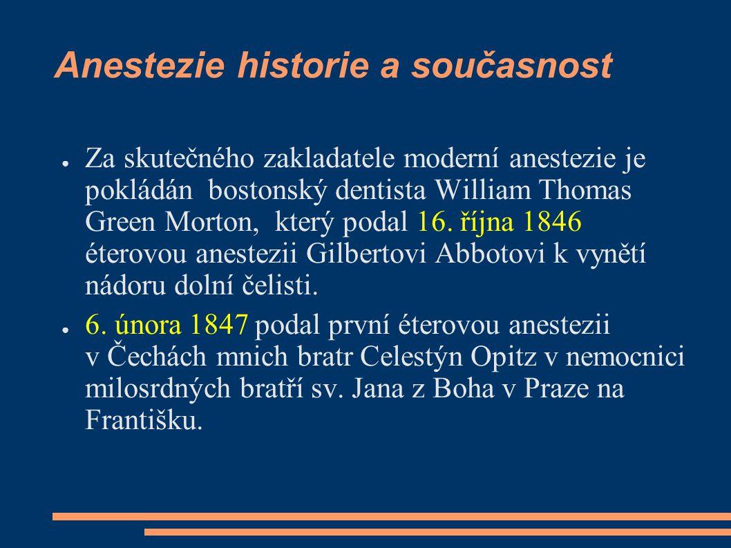 Anestezie historie a současnost ● Za skutečného zakladatele moderní anestezie je pokládán bostonský dentista William Thomas Green Morton, který podal
