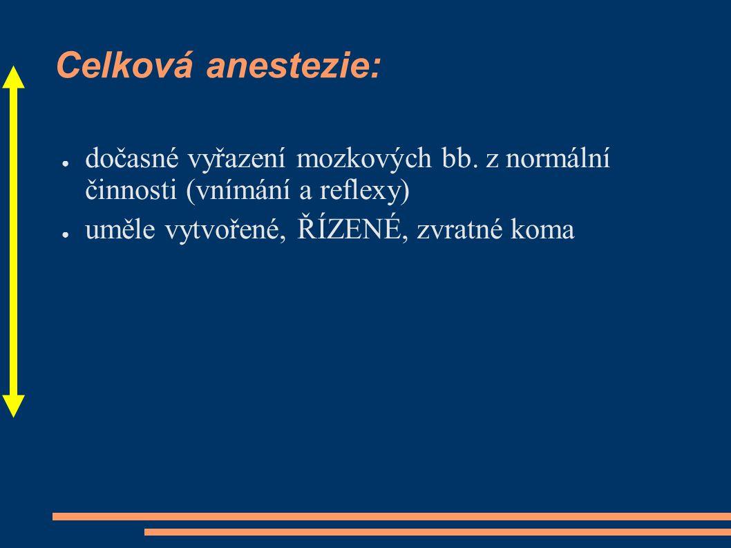 Celková anestezie: ● dočasné vyřazení mozkových bb. z normální činnosti (vnímání a reflexy) ● uměle vytvořené, ŘÍZENÉ, zvratné koma