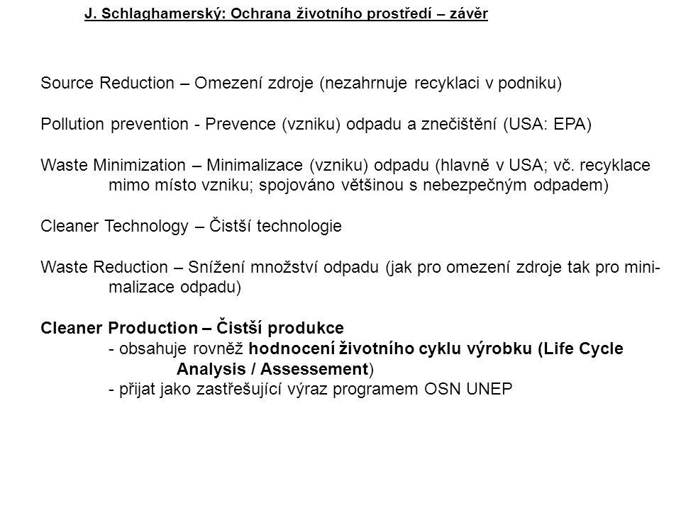 Source Reduction – Omezení zdroje (nezahrnuje recyklaci v podniku) Pollution prevention - Prevence (vzniku) odpadu a znečištění (USA: EPA) Waste Minimization – Minimalizace (vzniku) odpadu (hlavně v USA; vč.