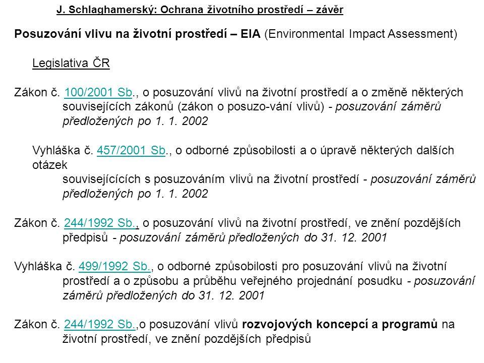 J. Schlaghamerský: Ochrana životního prostředí – závěr Posuzování vlivu na životní prostředí – EIA (Environmental Impact Assessment) Legislativa ČR Zá