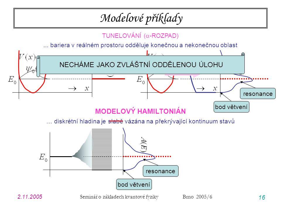 2.11.2005 Seminář o základech kvantové fyziky Brno 2005/6 16 Modelové příklady TUNELOVÁNÍ (  -ROZPAD)... bariera v reálném prostoru odděluje konečnou