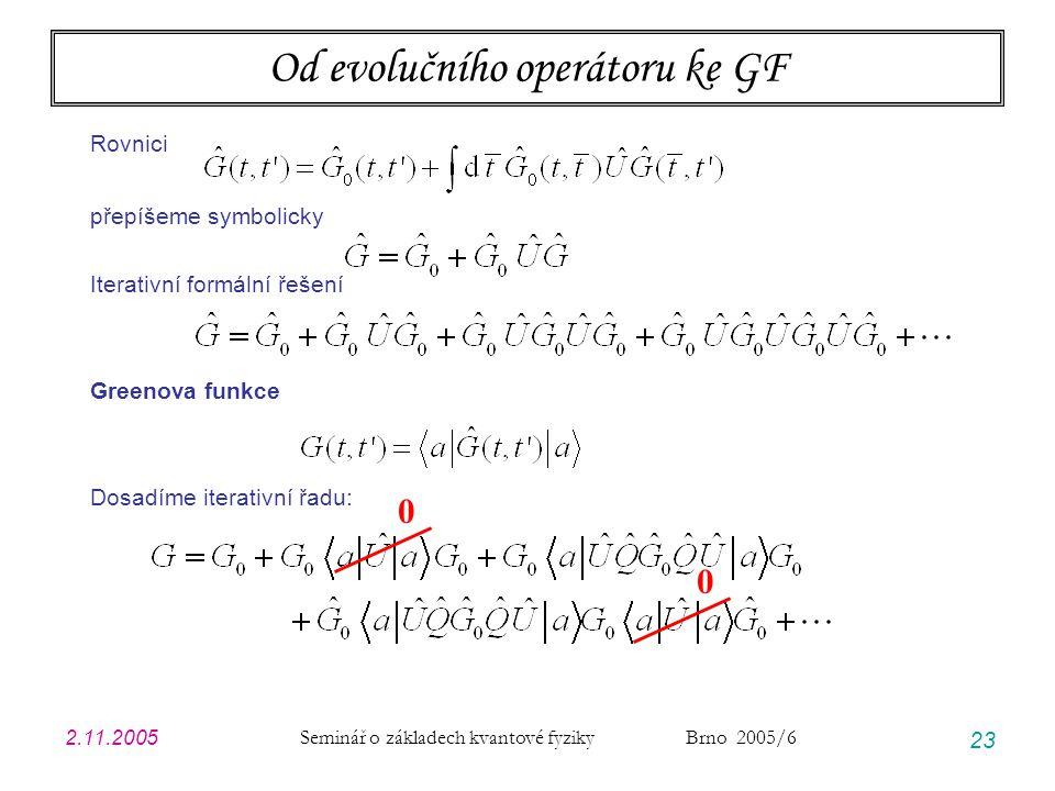 2.11.2005 Seminář o základech kvantové fyziky Brno 2005/6 23 Od evolučního operátoru ke GF Rovnici přepíšeme symbolicky Iterativní formální řešení Greenova funkce Dosadíme iterativní řadu: 0 0
