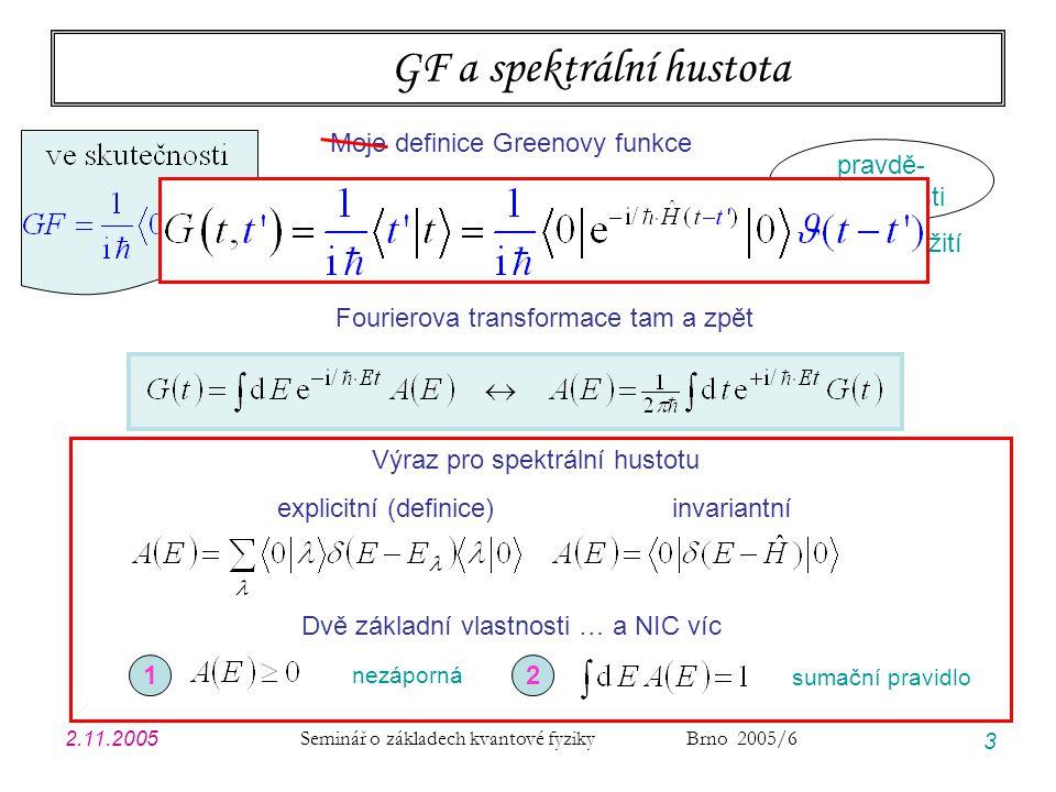 2.11.2005 Seminář o základech kvantové fyziky Brno 2005/6 3 GF a spektrální hustota Fourierova transformace tam a zpět Výraz pro spektrální hustotu explicitní (definice) invariantní Dvě základní vlastnosti … a NIC víc 12 nezáporná sumační pravidlo amplituda přežití pravdě- podobnosti Moje definice Greenovy funkce