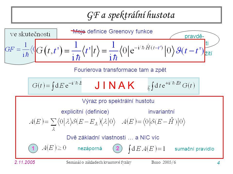 2.11.2005 Seminář o základech kvantové fyziky Brno 2005/6 4 GF a spektrální hustota Fourierova transformace tam a zpět Výraz pro spektrální hustotu ex