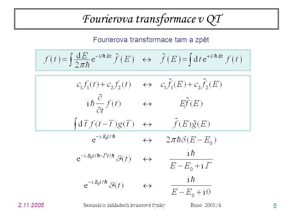 2.11.2005 Seminář o základech kvantové fyziky Brno 2005/6 36 Modelové příklady: úvodní poznámky JEDNOTKY … vlastně na nich nezáleží, ale pro názornost volím jednotky vhodné pro GF v CM energie1 eV 1,602  10 -19 J čas1 fs 1,000  10 -15 s  0,6582~ eV.fs 1,055  10 -34 J.s