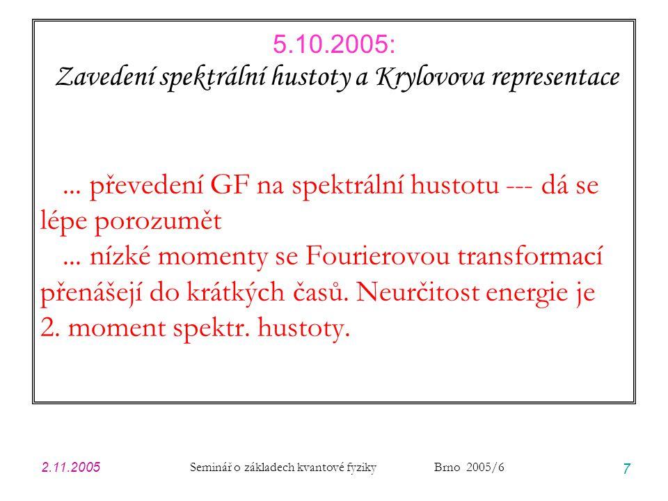 2.11.2005 Seminář o základech kvantové fyziky Brno 2005/6 18 Modelový Hamiltonián … diskrétní hladina je vázána V Hilbertově prostoru stavů zavedu na kontinuum hladin projektory na oba ortogonální podprostory