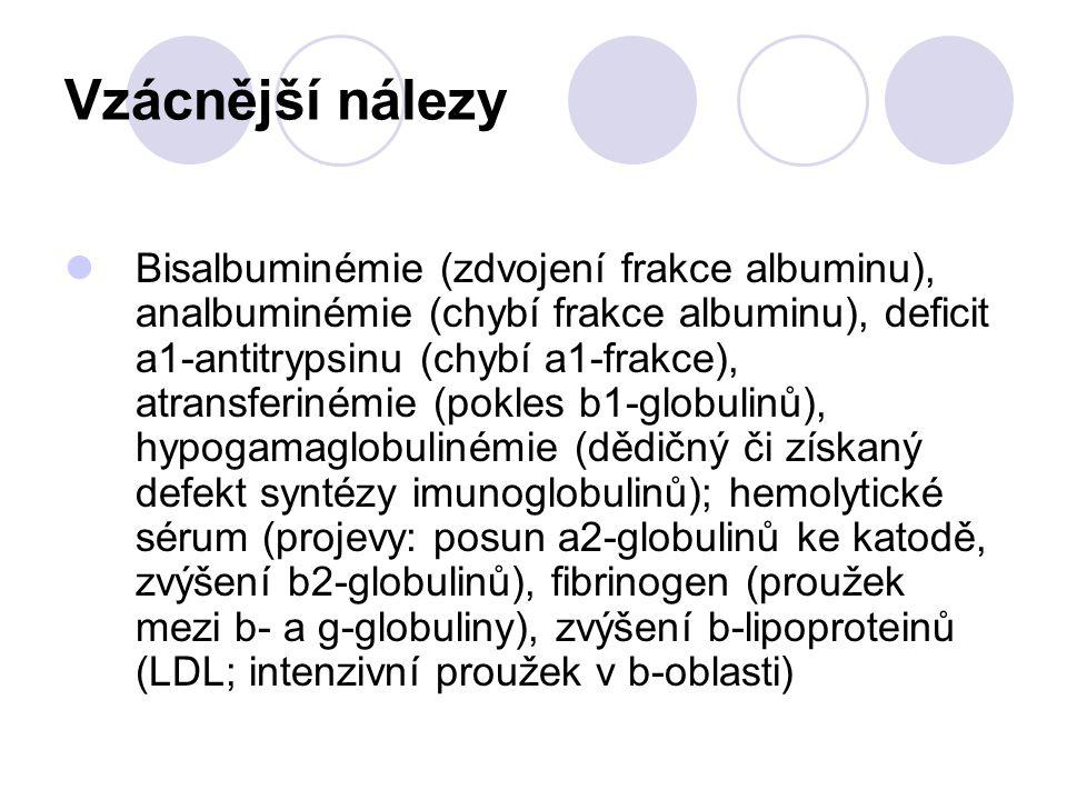 Vzácnější nálezy Bisalbuminémie (zdvojení frakce albuminu), analbuminémie (chybí frakce albuminu), deficit a1-antitrypsinu (chybí a1-frakce), atransfe