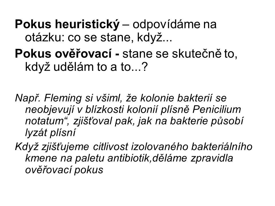 Schema pokusu 1.Studium literatury 2. formulace problému (otázky) 3.