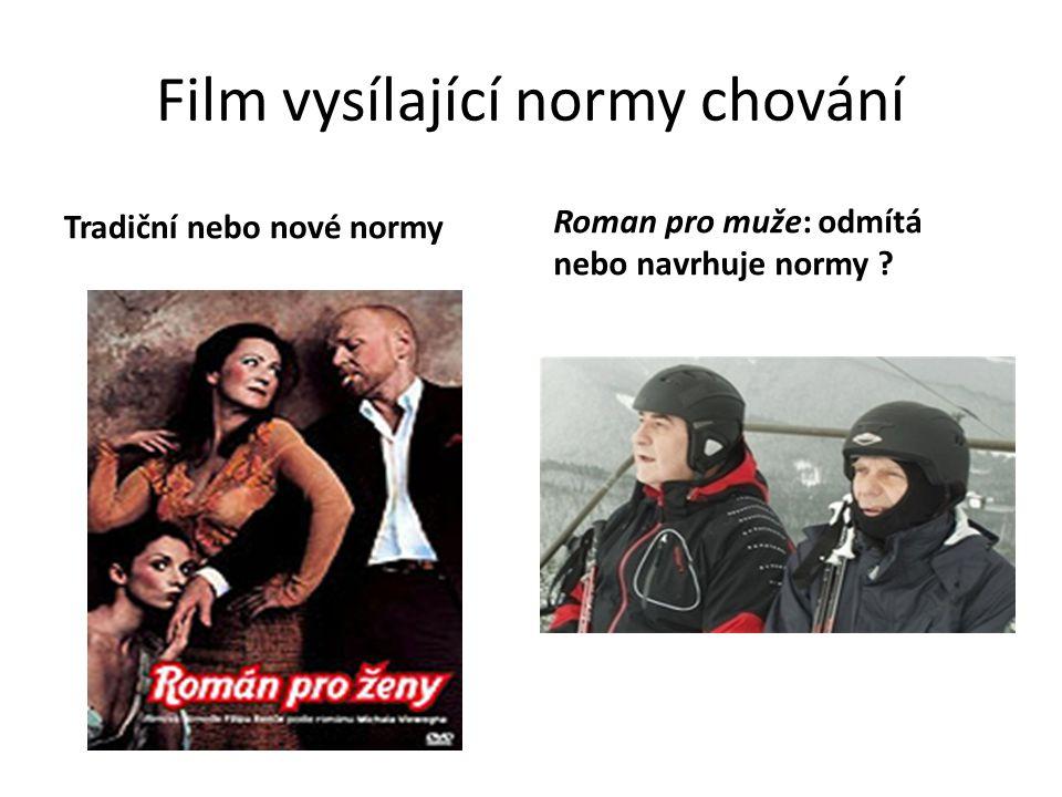 Film vysílající normy chování Tradiční nebo nové normy Roman pro muže: odmítá nebo navrhuje normy ?