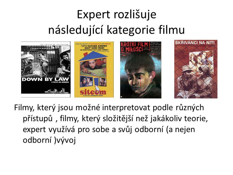 Expert rozlišuje následující kategorie filmu Filmy, který jsou možné interpretovat podle různých přístupů, filmy, který složitější než jakákoliv teori