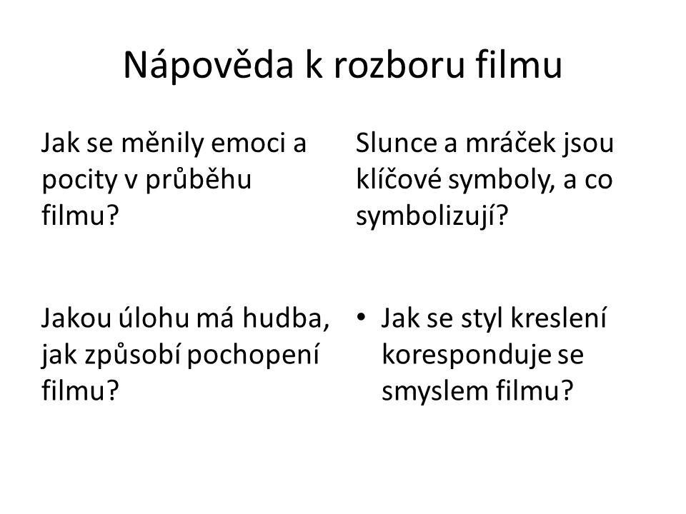 Nápověda k rozboru filmu Jak se měnily emoci a pocity v průběhu filmu? Slunce a mráček jsou klíčové symboly, a co symbolizují? Jakou úlohu má hudba, j