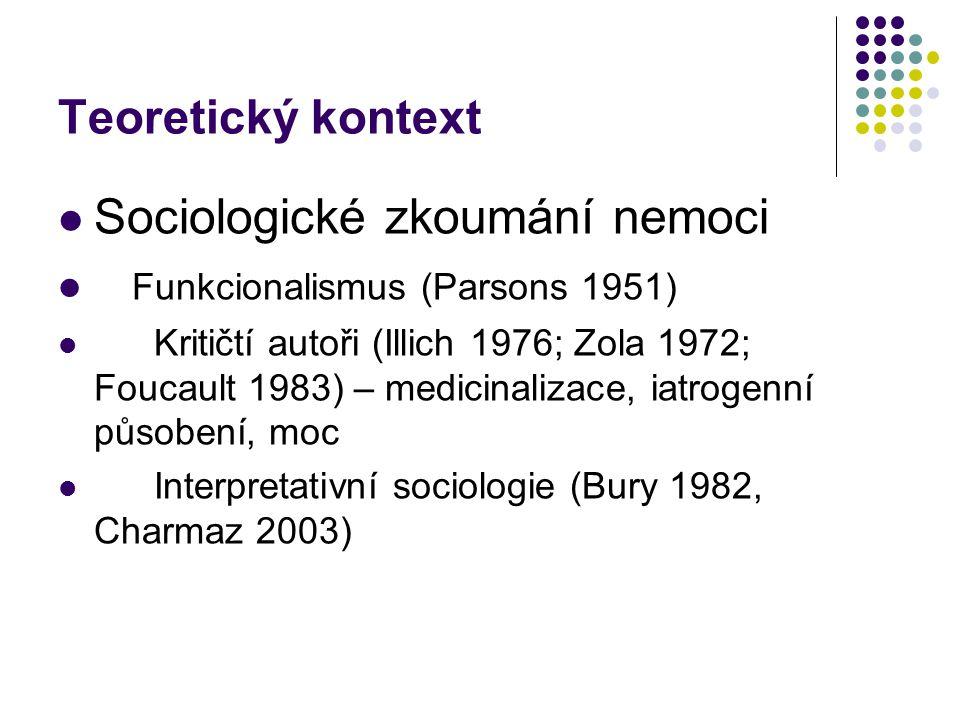 Teoretický kontext Sociologické zkoumání nemoci Funkcionalismus (Parsons 1951) Kritičtí autoři (Illich 1976; Zola 1972; Foucault 1983) – medicinalizace, iatrogenní působení, moc Interpretativní sociologie (Bury 1982, Charmaz 2003)