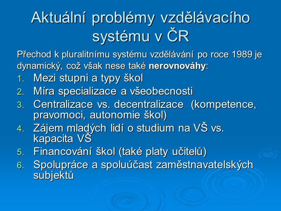 Aktuální problémy vzdělávacího systému v ČR Přechod k pluralitnímu systému vzdělávání po roce 1989 je dynamický, což však nese také nerovnováhy: 1. Me