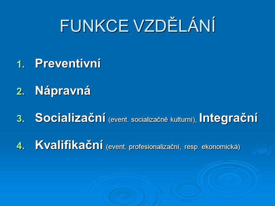 FUNKCE VZDĚLÁNÍ 1. Preventivní 2. Nápravná 3. Socializační (event. socializačně kulturní), Integrační 4. Kvalifikační (event. profesionalizační, resp.